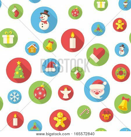 Seamless pattern with christmas icons vector illustration