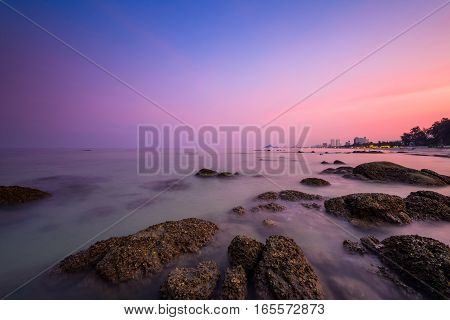 Twilight of the sea shore after sunset at Hua Hin beach favorite place of Thailand