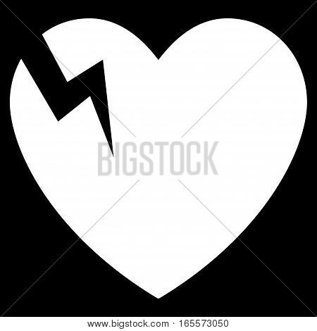 Heart Crack vector icon. Flat white symbol. Pictogram is isolated on a black background. Designed for web and software interfaces.
