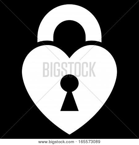 Heart Lock vector icon. Flat white symbol. Pictogram is isolated on a black background. Designed for web and software interfaces.