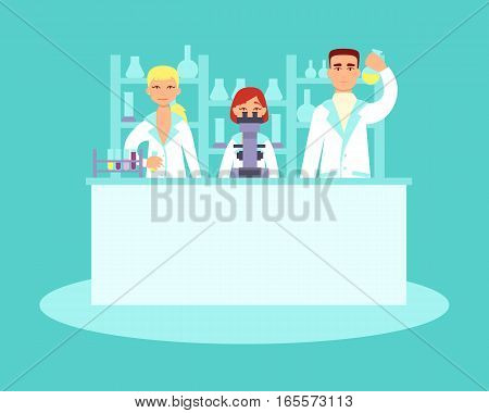 Scientists conducting research in laboratories. Flat design. Vector illustration