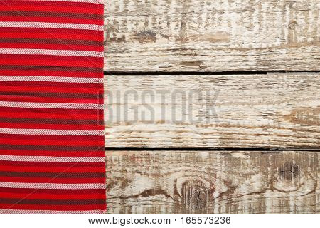 Red Napkin On A Grey Wooden Table