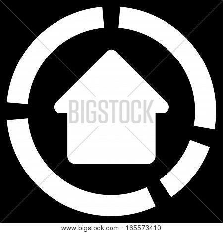 House Diagram vector icon. Flat white symbol. Pictogram is isolated on a black background. Designed for web and software interfaces.