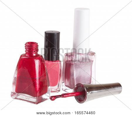 three nail polish bottle on white background.