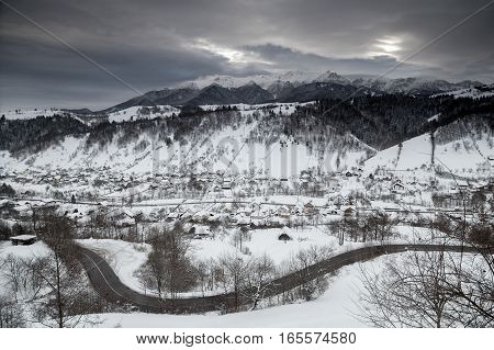 Beautiful mountain road in winter, in Transylvania