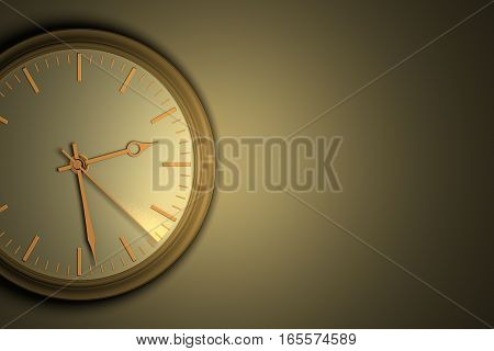 Time leaves without a delay concept. Closeup of wall clock with copy space, a second hand a leaving light trail, 3D illustration.