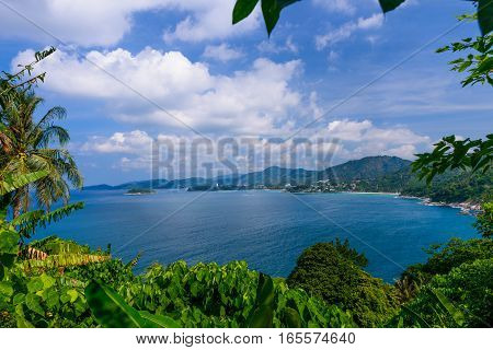 Landscape from Phuket View Point Karon Beach Kata Beach Patong Beach Taken from Karon Viewpoint. Located in Phuket Province Thailand.