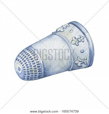 Silver Thimble Decorated with Fleur de Lis. Hand drawn watercolor painting on white background