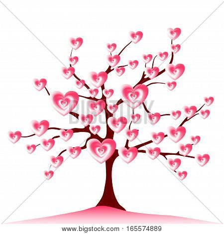 Blooming love tree vector. Illustration with pink stylized hearts on branches of the tree. Symbol of romantic relationships, warm and tender feelings in the family. Love is depicted as a tree which becomes bigger and more beautiful with time like a growin
