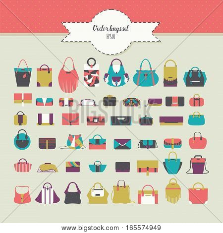 Big beautiful bundle with flat women bags in different design - handbag clutch purse rucksack and many more. Vector fashion illustration set in bright colors. Various accessories for women
