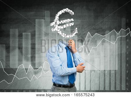 Faceless businessman with euro sign instead of head