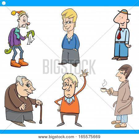 Cartoon Vector  Illustration Set of Man Characters