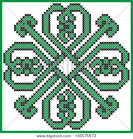 Celtic endless knot in clover with hearts elements in tile  shape in black and green cross stitch pattern  inspired by Irish St Patrick's day and ancient Scottish culture