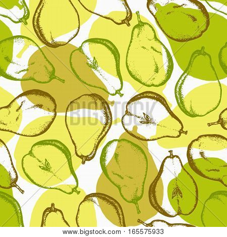 Seamless pattern with pears. Harvest background with pears. Ink. Hand drawn. Kitchen background.