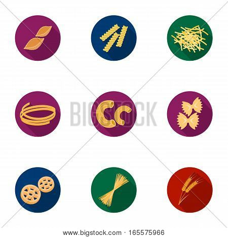 Types of pasta set icons in flat design. Big collection of types of pasta vector symbol stock illustration