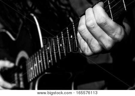 play the acoustic guitar hand musican man