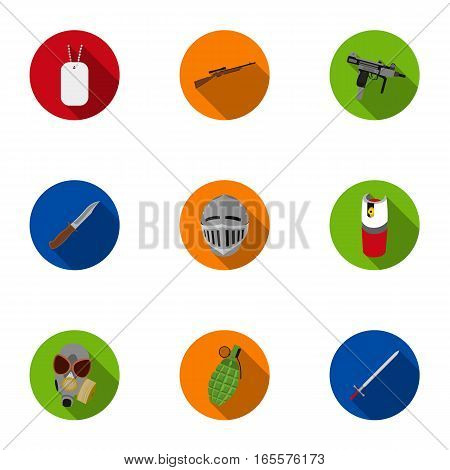 Weapon set icons in flat style. Big collection of weapon vector symbol stock