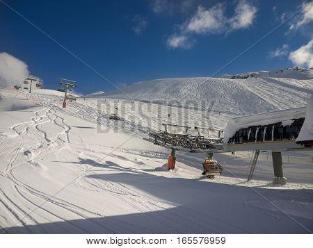 Winter mountains, ski liftin Italian Alps, Livignio