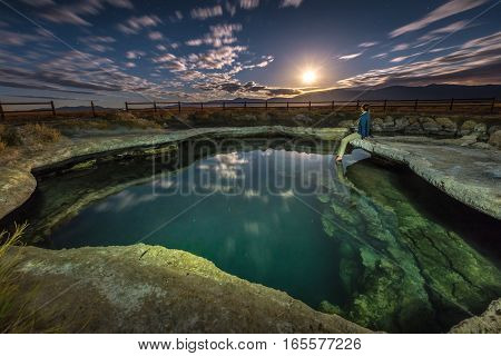 Meadow Hot Spring At Night