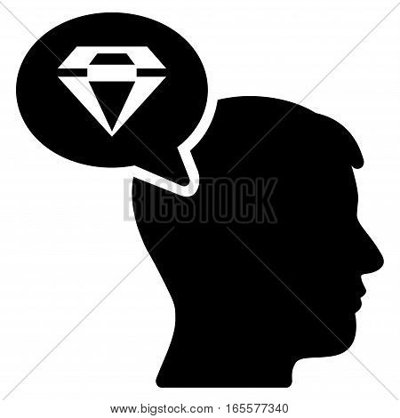Diamond Thinking vector icon. Flat black symbol. Pictogram is isolated on a white background. Designed for web and software interfaces.