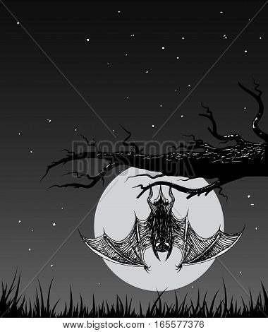 Bat is hanging on a branch in the nighttime.Vector illustration