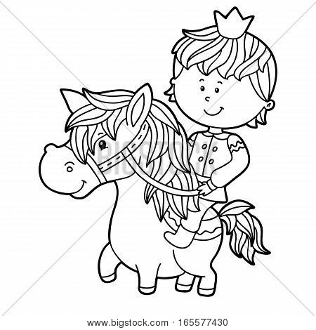 Vector illustration of cute cartoon boy character for children, coloring page