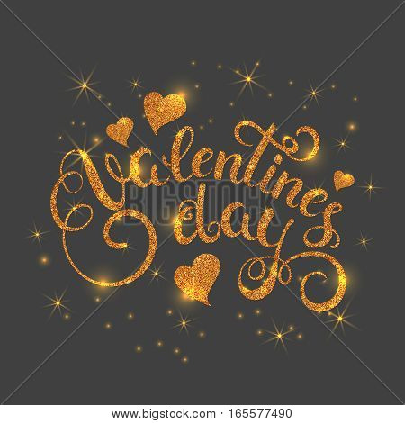 Happy valentines day gold glitter texture handwritten text. Holiday callygraphy lettering with hearts. Vector illustration.