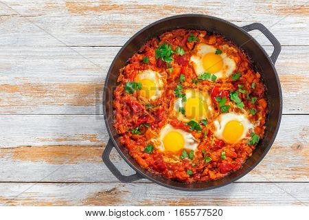 Shakshuka - Fried Eggs, Onion, Bell Pepper, Tomatoes And Spices