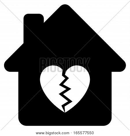 Divorce House Heart vector icon. Flat black symbol. Pictogram is isolated on a white background. Designed for web and software interfaces.
