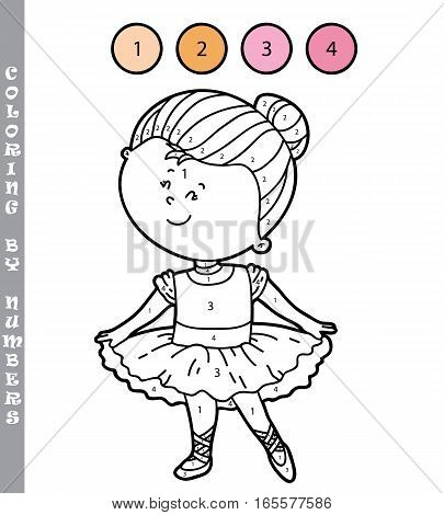 Vector illustration coloring by numbers educational game with cartoon girl for kids