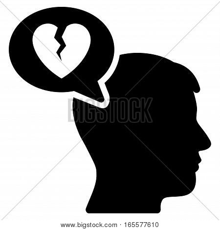 Divorce Thinking Man vector icon. Flat black symbol. Pictogram is isolated on a white background. Designed for web and software interfaces.