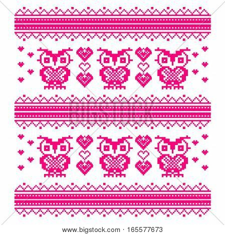 Pink embroidery pattern for children clothes with Hearts and Owls. Valentine s Day. Vector ethnic pattern
