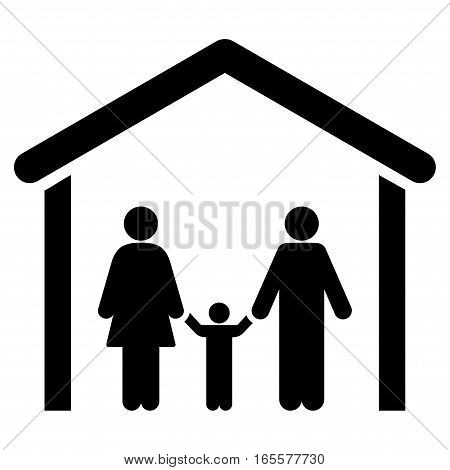 Family Cabin vector icon. Flat black symbol. Pictogram is isolated on a white background. Designed for web and software interfaces.