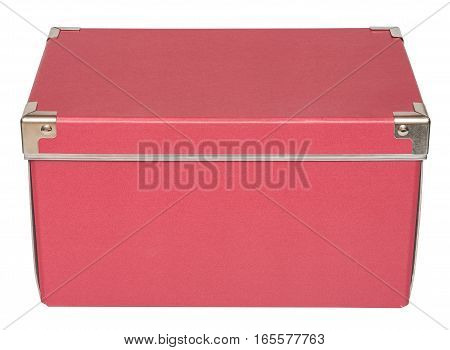 Closed red cardboard box with metal findings. Isolated on the white background top-side view no shadow.