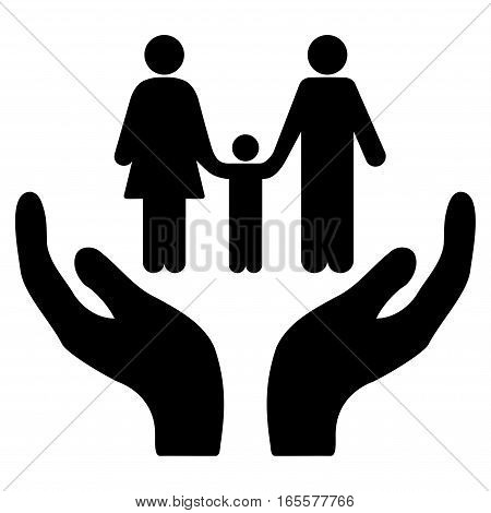 Family Care Hands vector icon. Flat black symbol. Pictogram is isolated on a white background. Designed for web and software interfaces.