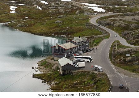 LAKE DYUPVATNET, NORWAY - JULY 6, 2016: It is a tourist center in a deserted mountainous area on the lake Dyupvatnet.