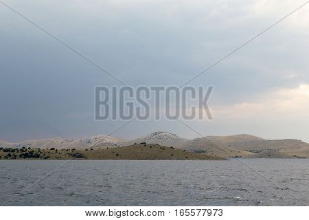 There are uninhabited islands of Kornati National Nature Reserve in Croatia before the stormy weather.