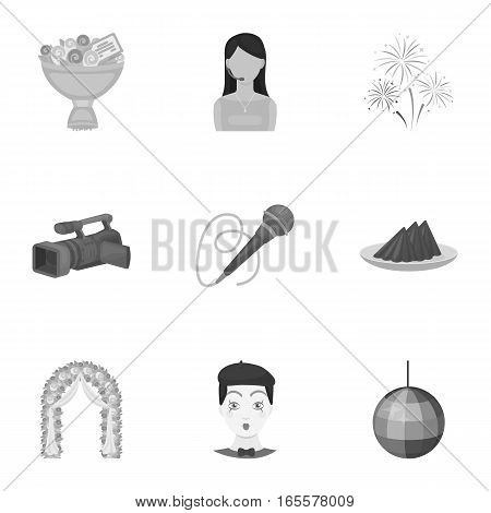 Event service set icons in monochrome design. Big collection of event service vector symbol stock illustration