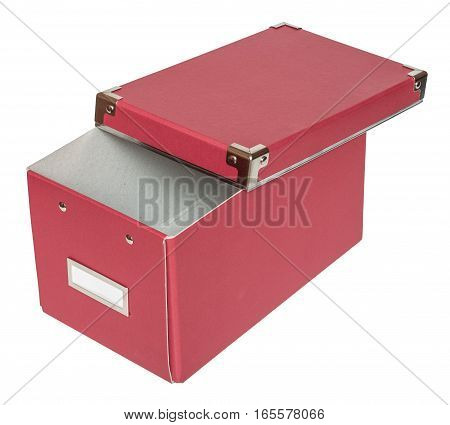 Haft-open red cardboard box with metal findings. Isolated on the white background three-quarter view no shadow.