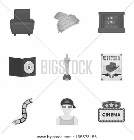 Films and cinema set icons in monochrome style. Big collection of films and cinema vector symbol stock