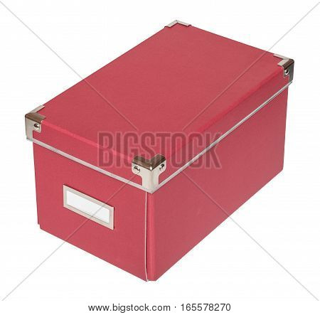 Closed red cardboard box with metal findings. Isolated on the white background three-quarter view no shadow.