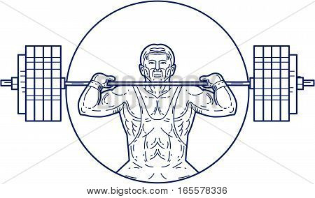 Mono line style illustration of a strongman lifting heavy weight barbell set inside circle viewed from front.