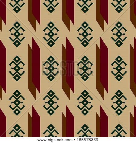 Seamless pattern with traditional Native American Indian ornaments and geometric shapes with pastel harmonious colors beige brown dark red dark green