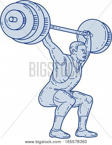 Mono line style illustration of a weightlifter lifting barbell weights with both hands set on isolated white background.