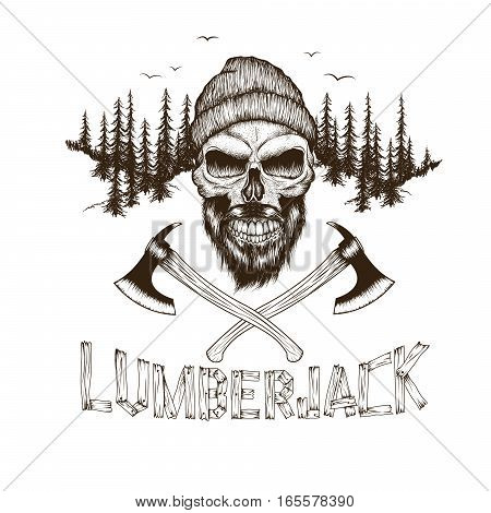 Bearded skull-lumberjack with two axes.Dotwork.Hand drawn illustration