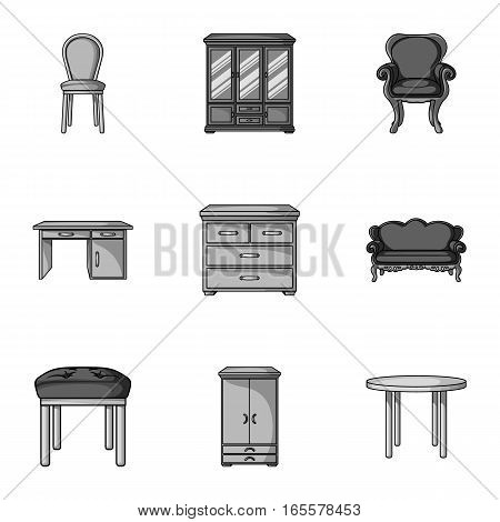 Furniture and home interior set icons in monochrome design. Big collection of furniture and home interior vector symbol stock illustration