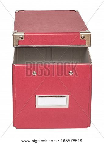 Haft-open red cardboard box with metal findings. Isolated on the white background top-front view no shadow.