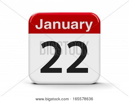 Calendar web button - The Twenty Second of January three-dimensional rendering 3D illustration