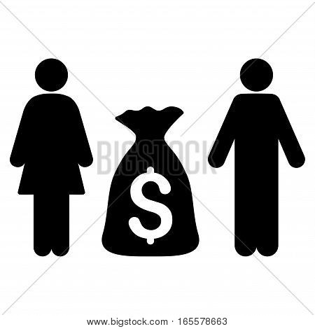 Family Money Deposit vector icon. Flat black symbol. Pictogram is isolated on a white background. Designed for web and software interfaces.