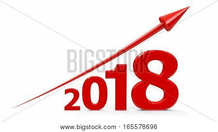Red arrow up represents the growth in 2018 year three-dimensional rendering 3D illustration